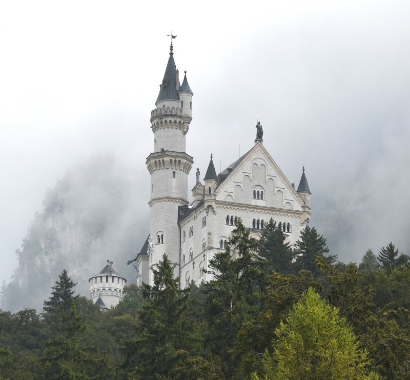 Neuschwanstein Castle in Germany taken on Sept. 05, 2016. Foggy day