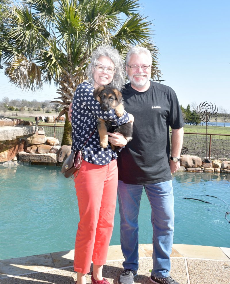 Zuriel a Nix and Emma male with his new owners Louis and Martha Felini. Picture taken on March 09, 2019