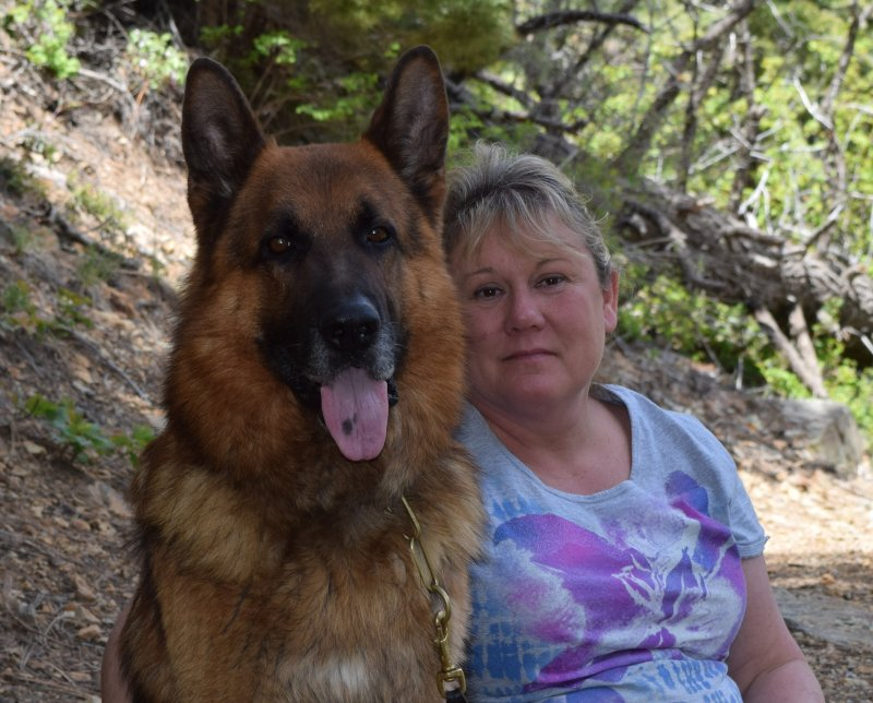 V Hagen vom Deutshcen Eck one of our german shepherd studs with Tia Otto in New Mexico on vacation!