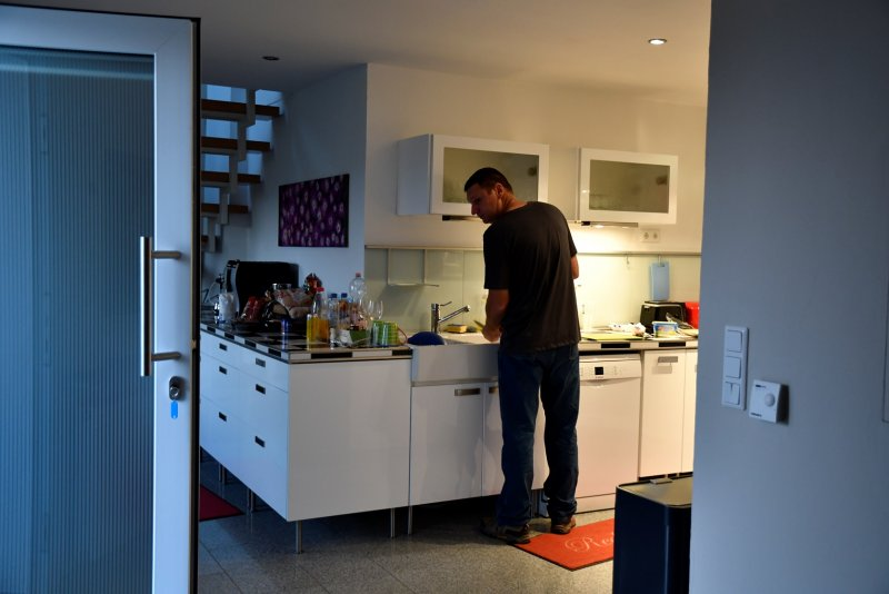 Dan cooking at the house we rented Andernach Germany by the Rhine RIver.